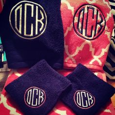 monogrammed towels in navy and coral