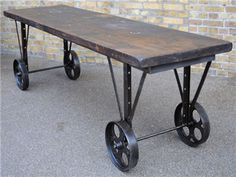 Antique work bench. Fantastic wear to the thick top.  origin: UK  year: 1900  dimensions: length: 260cm; width: 71cm; height: 83cm