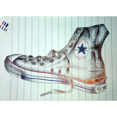 Well-worn   Biro pen drawing of converses