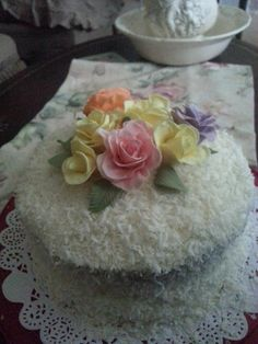 Coconut Birthday Cake with Roses