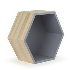 Etagère hexagonale grand modèle, grise