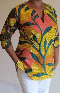 African Print Tunic Mix Top by ifenkili on Etsy, ~African fashion, Ankara… African Dresses For Women, African Print Dresses, African Attire, African Fashion Dresses, African Wear, African Women, Ghanaian Fashion, African Prints, African Inspired Fashion