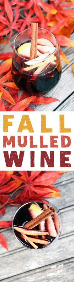 The weather is getting chilly so that means it is time for some delicious Fall Mulled Wine! Cinnamon...Apples...Tawny Port create the Nectar of the Gods!