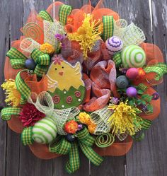 Easter Wreath Easter Decoration Easter Chick Raz by BaBamWreaths