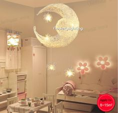 Kinderkamer verlichting maan en sterren aluminium hanglamp gepersonaliseerde moderne lamp hanglamp 5*g4 kind slaapkamer lamp