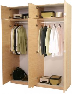 Brown Wooden Free Standing Wardrobe With Three Doors And Double White Hooks  Connected By Racks