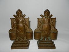 Vintage Pair Cast Bronze DUTCH GIRL bookends circa 1920's at My Grandmother Had One on Ruby Lane