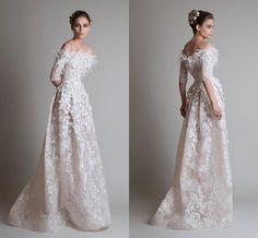 Elegant Elie Saab Formal Dresses Evening Long Strapless Half Sleeves Sweep Train Feather Applique Lace Prom Dresses 2015 Custom Made BG50366, $142.41 | DHgate.com