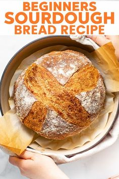 This beginner's sourdough bread recipe has clear, full, and detailed instructions. It makes a wonderfully crusty, crackly loaf of delicious sourdough bread with only 3 ingredients! Bake amazing, artisan bread at home with this simple recipe! #sourdough #sourdoughbread #veganbread #vegan #recipe #noknead #homemade Bread Recipes, Vegan Recipes, Delicious Recipes, Vegan Bread, Vegan Food, Vegan Baking, Bread Bags, Recipe Notes, Sourdough Bread