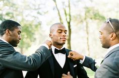 Terrance's groomsmen were friends he'd grown up with.