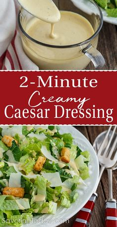 Creamy Caesar Dressing recipe brings this fresh, classic tableside salad to your family dinners with ease. Our dressing highlights the bold, rich flavors of lemon, anchovy, and Parmesan. Creamy Caesar Dressing Recipe, Homemade Ceasar Dressing, Easy Caesar Salad Dressing, Homemade Dressing Recipe, Classic Caesar Salad, Salad Dressing Recipes, Cesar Dressing, Easy Salad Recipes, Ceasar Dressing