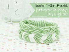 Braided T~Shirt Bracelets for St. Patrick's Day~Great Craft for Kids! @NotSoIdleHands.com