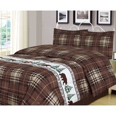 King or Full/Queen Plaid Bear Comforter 3 Piece Set Rustic Cabin Lodge Rustic Bedding Sets, King Bedding Sets, Twin Comforter, Gray Bedding, Queen Bedding, Unique Bedding, Sports Bedding, Rustic Cabin Decor, Rustic Cabins