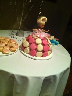 Macaroon barbie table center piece we are having made for us by The Almond Tree - http://www.facebook.com/Thealmondtree.au