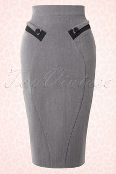 Miss Candyfloss TopVintage Exclusive ~ Ada Pencil Skirt .- Miss Candyfloss TopVintage Exclusive ~ Ada Pencil Skirt in Grey Melange Miss Candyfloss Grey Ruffed Skirt with Black detail 120 15 16273 20151016 - Work Skirts, Cute Skirts, African Fashion Dresses, Fashion Outfits, Womens Fashion, Steampunk Fashion, Gothic Fashion, Mode Vintage, Vintage Tops