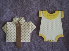 Man's shirt card and baby onesie I did without the aid of a circle or scallop punch. Used circle template and scalloped scissors.