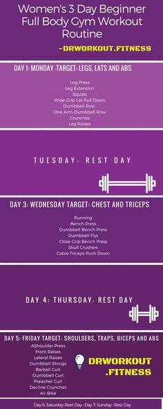 Women's 3 Day Beginner Full Body Gym Workout Plan   Dr Workout
