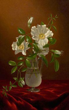 Cherokee Roses in a Glass Vase- Martin Johnson Heade