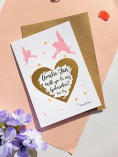 WILL YOU BE My Godmother card//invite can personalise FREE P+P envelope