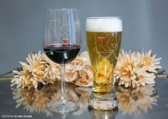 Personalized Wine & Beer Glass Set State to by LetsTieTheKnot