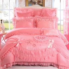 Solid Pink Lace Design Love Heart Shaped Romantic Rose Queen Size Wedding Bedding Sets - EnjoyBedding.com