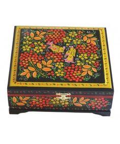 Wooden boxes from Semyonovo. Russian folk souvenirs