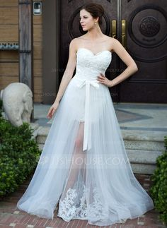 f07ca42ea18 A-Line Princess Sweetheart Floor-Length Detachable Satin Tulle Wedding Dress  With Lace