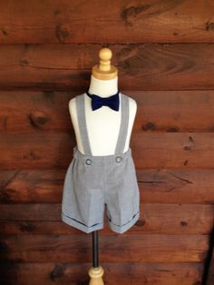 Boys grey shorts with cuffs boys suspender by LaurasCabinCreations