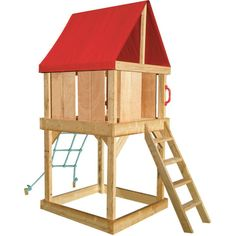 Kids Outdoor Wooden Cubby House with Net and Ladder   Buy Play Equipment