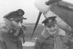 """Following the latest action of No 92 Squadron RAF on 2 November 1940, acting S/L John A """"Johnny"""" Kent (left) learned from IO, F/O Tom Wiese (right), at RAF Biggin Hill that his claims for 2 and 1 probable enemy fighters included Me 109E-4 Red 2 over the Kent coast at 08.55. The 26-year-old Canadian was told that the tunic of the pilot, later identified as Hptm Wilhelm Enßlen of Stab 2/JG52, was found with 6 .303 holes after he had dived from 16,000ft into the ground at Burmarsh Halt."""