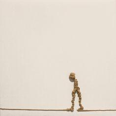 Alex Pinna, Senza titolo, 2016, rope on canvas, 20 x 20 cm #contemporary #art #canvas #minimal