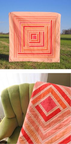 Modern hot pink quilt! This funky and fresh Campfire quilt is so cute!