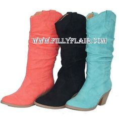 turquoise cowgirl boots, black suede cowgirl boots, coral cowgirl boots $49.99