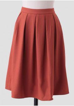Silvia Pleated Skirt In Rust | Modern Vintage Skirts | Modern Vintage Clothing