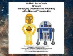This is a great way to offer your class practice and review in multiplying decimals and rounding  to the nearest thousandths.  The collection includes 40 task cards with an entertaining theme of star wars.Task cards are great practice for students who might need extra drill or for those early finishers that you want to provide with a meaningful review.