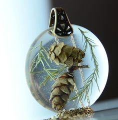 Pine Cones in Resin Necklace Set In Brass ,Botanical Nature Resin Jewelry. $36.00, via Etsy.