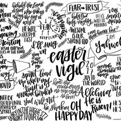 My notes from last night's all night Easter Vigil service! Happy Easter everyone! Easter Vigil, Happy Easter Everyone, Holy Week, Craft Box, Lettering Design, Art Journals, Boxes, Faith, Graphic Design