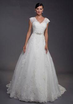 V Neck Chapel Train Satin Sleeveless Ball Gown Wedding Dress