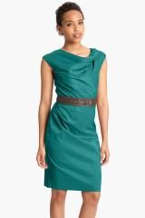 Suzi Chin For Maggy Boutique Asymmetrical Neck Belted Sheath Dress - Lyst