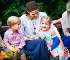 royal watcher: Royal Family Annual Summer Photoshoot, Gråsten Castle, July 25, 2015-Crown Princess Mary with her youngest children Prince Vincent and Princess Josephine