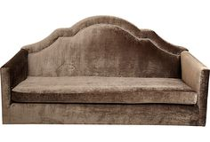 Tiger Lily's, Hawthorne Sofa: Custom demilune high back sofa with nickel nailhead detail. Loose seat cushion filled with soft foam and Dacron wrap. Vintage Sofa, Vintage Decor, Vintage Furniture, Vintage Style, Find Furniture, Accent Furniture, Home Furniture, Sofa Shop, Vintage Market
