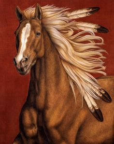 Sunhorse - Artist: Pat Erickson feathers chestnut Native American Indian horse art