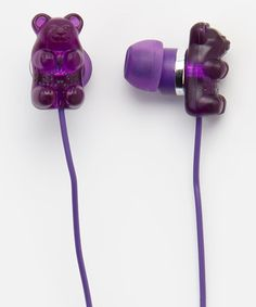 I love my music! Use earbuds when sleeping or anything else throughout the day. Take a look at this Grape Gummy Bear Scented Earbuds by Gummy Bears on today! Purple Love, All Things Purple, Purple Rain, Shades Of Purple, Candy Craze, Cute Headphones, Phone Accesories, Gadgets, Accessoires Iphone