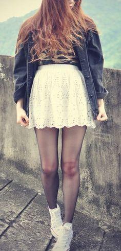 White Floral Eyelet Skirt