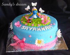 Smurfette birthday cake