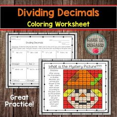 Students will be solving 16 problems on dividing decimals. Students will then color in their answer to reveal a mystery picture. This is great practice for any class learning how to write linear equations in slope-intercept form because it also allows students to self assess themselves. If their ans... Adding And Subtracting Integers, Dividing Decimals, Multiplying Decimals, 9th Grade Math, Math Coloring Worksheets, Sorting Activities, Math Resources, Mystery, Students