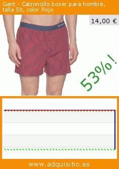 Gant - Calzoncillo boxer para hombre, talla 50, color Rojo (Ropa). Baja 53%! Precio actual 14,00 €, el precio anterior fue de 29,95 €. https://www.adquisitio.es/gant/calzoncillo-boxer-hombre-62
