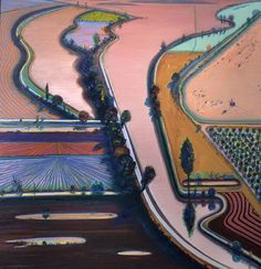 Wayne Thiebaud - Levee Farms, 1998 at American Art Museum Washington DC Scenery Paintings, Paintings I Love, Art Pop, Landscape Art, Landscape Paintings, Wayne Thiebaud Paintings, Pop Art Movement, Richard Diebenkorn, Arte Popular