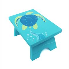 Small Step Stool - Custom Hand Painted Children's Bench Seat Ocean Sea Turtle or Any Kids Theme (65.00 USD) by Coolisart