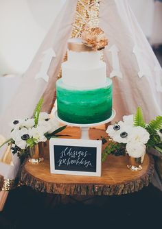 A stunning green ombre wedding cake. The perfect complement to an artistic wedding reception. - Los Angeles Wedding Inspiration and locations via los angeles food co catering and events. Pretty Cakes, Beautiful Cakes, Amazing Cakes, Green Cake, Wedding Reception Food, Wedding Cake Inspiration, Wedding Ideas, Inspiration Boards, Wedding Stuff